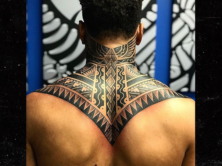b02448ed5 NFL's Marvin Jones Gets Sick Tribal Neck Tattoo with Football Twist