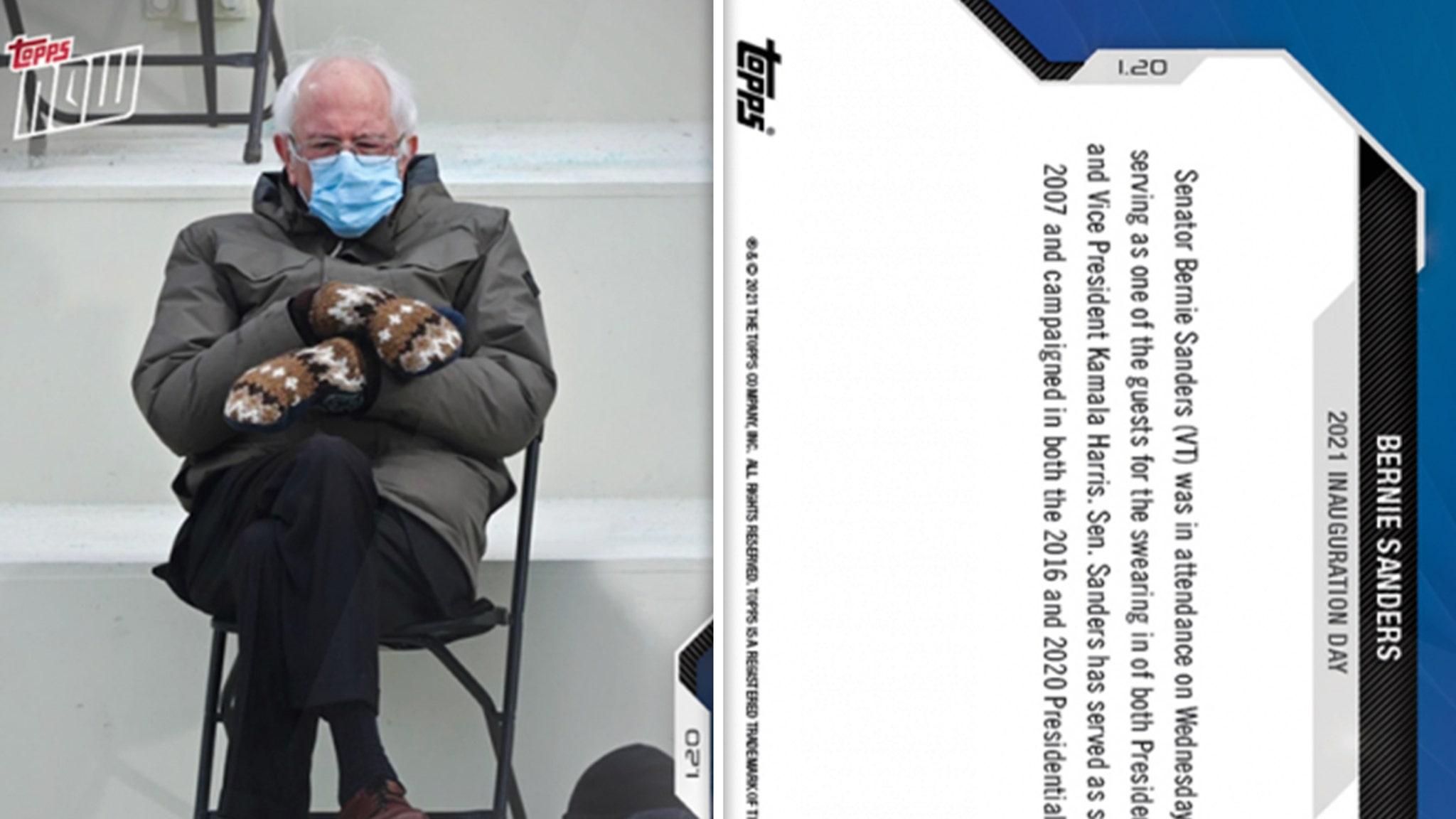 Берни Сандерс получает лечение от бейсбольной карты после инаугурации