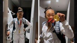 USA's Suni Lee Wins Gold In Gymnastics All-Around, Celebrates With Biles!