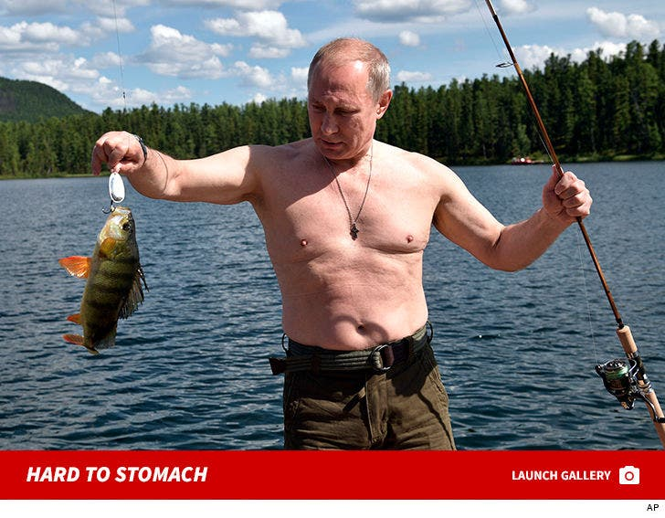 Vladimir Putin fishes during a mini-break in the Siberian Tyva