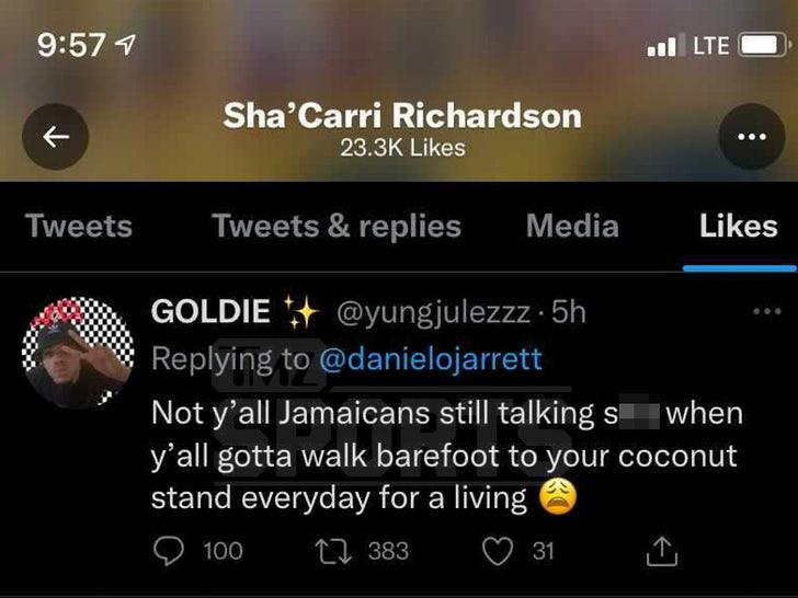 shacarri richardson liked tweet
