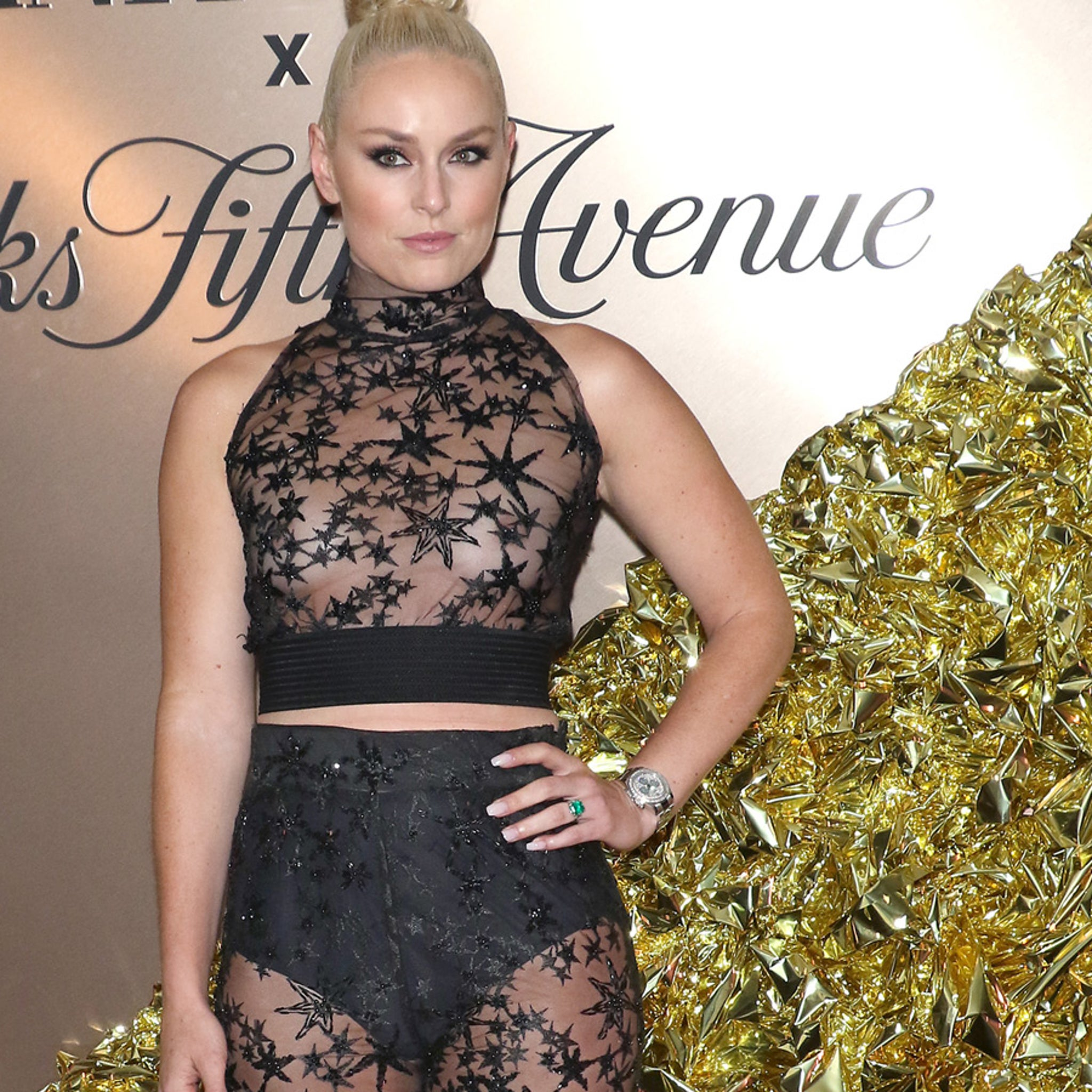 Lindsey Vonn Rocks See-Thru Shirt to Vanity Fair Party