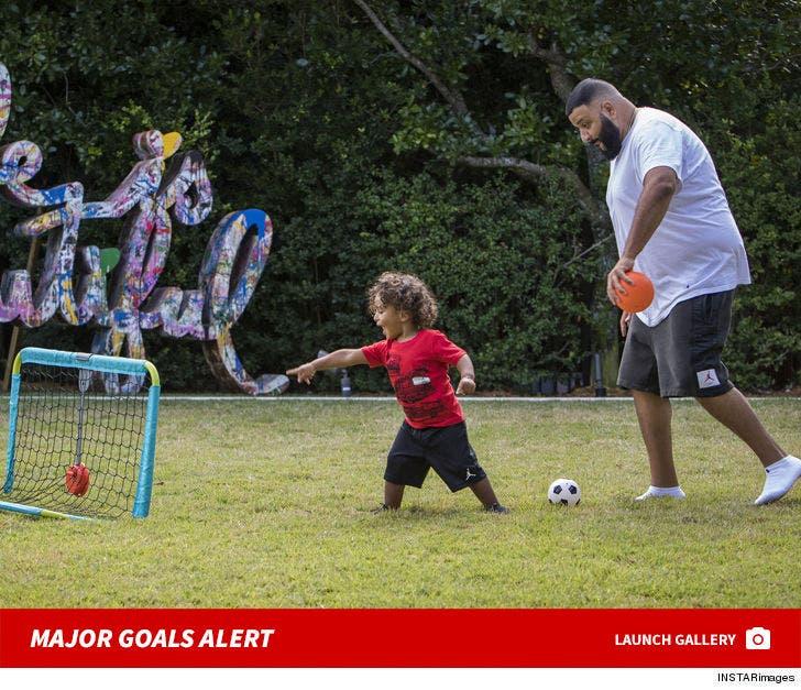 DJ Khaled And Son Asahd Play Soccer -- Major Goals Alert!