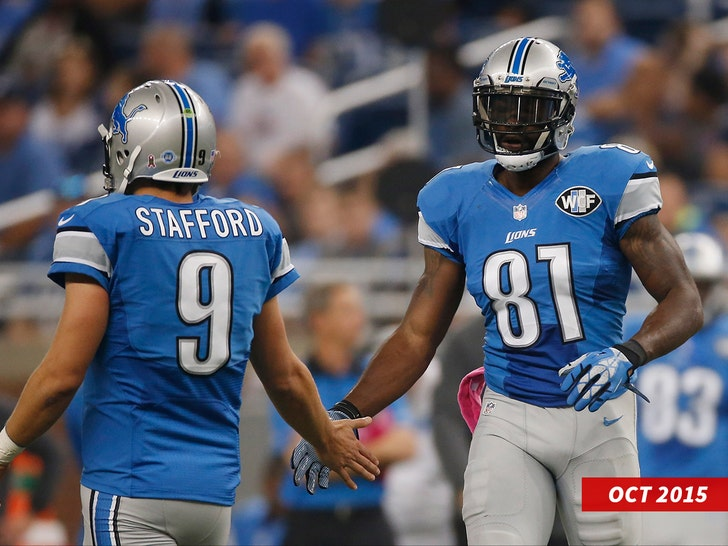 Calvin Johnson #81 celebrities breaking the franchise record of the most catches with Matthew Stafford