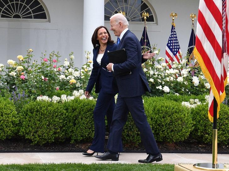 President Biden and VP Harris Smiling Maskless in Rose Garden.jpg