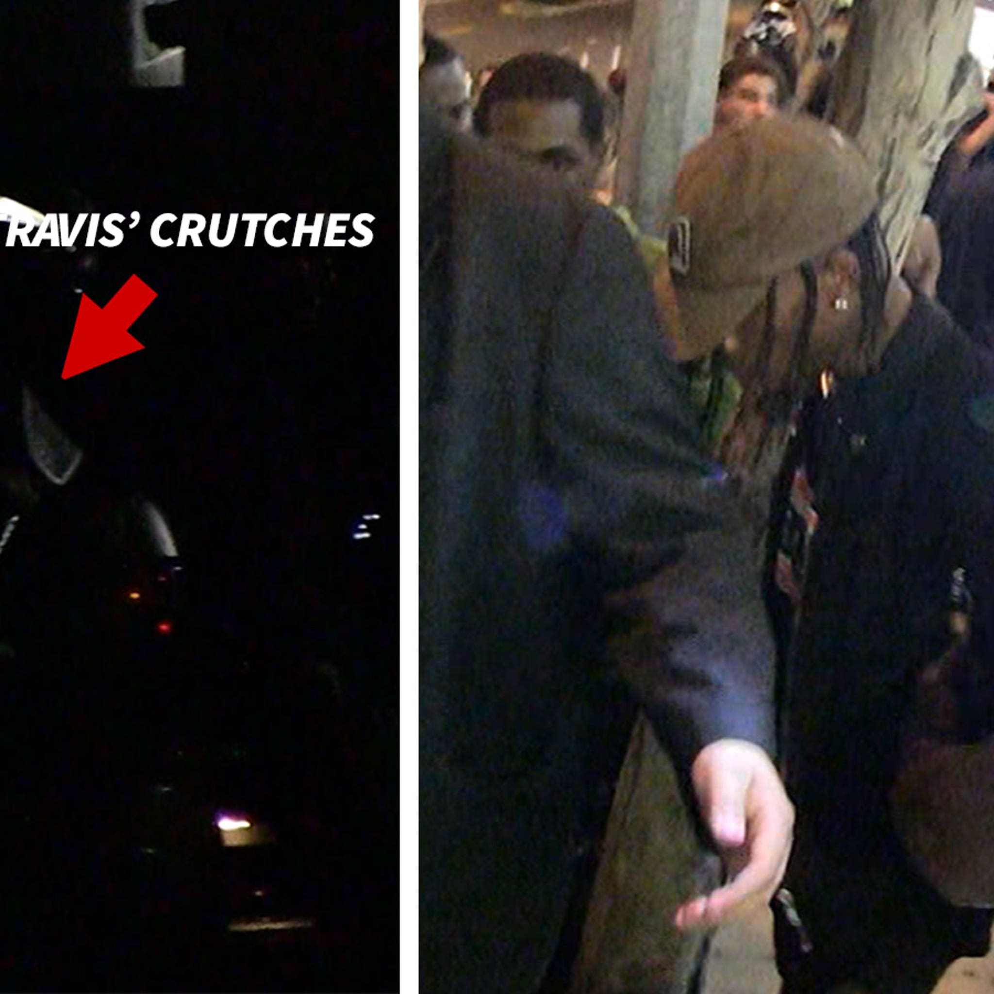 Travis Scott Limps His Way Out of West Hollywood Nightclubs