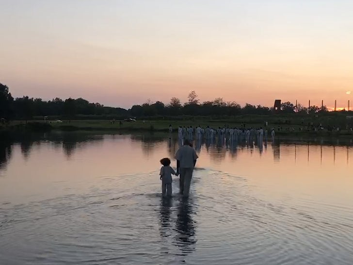 Kanye West 'Walks on Water' With His Children at Sunday Service in Atlanta
