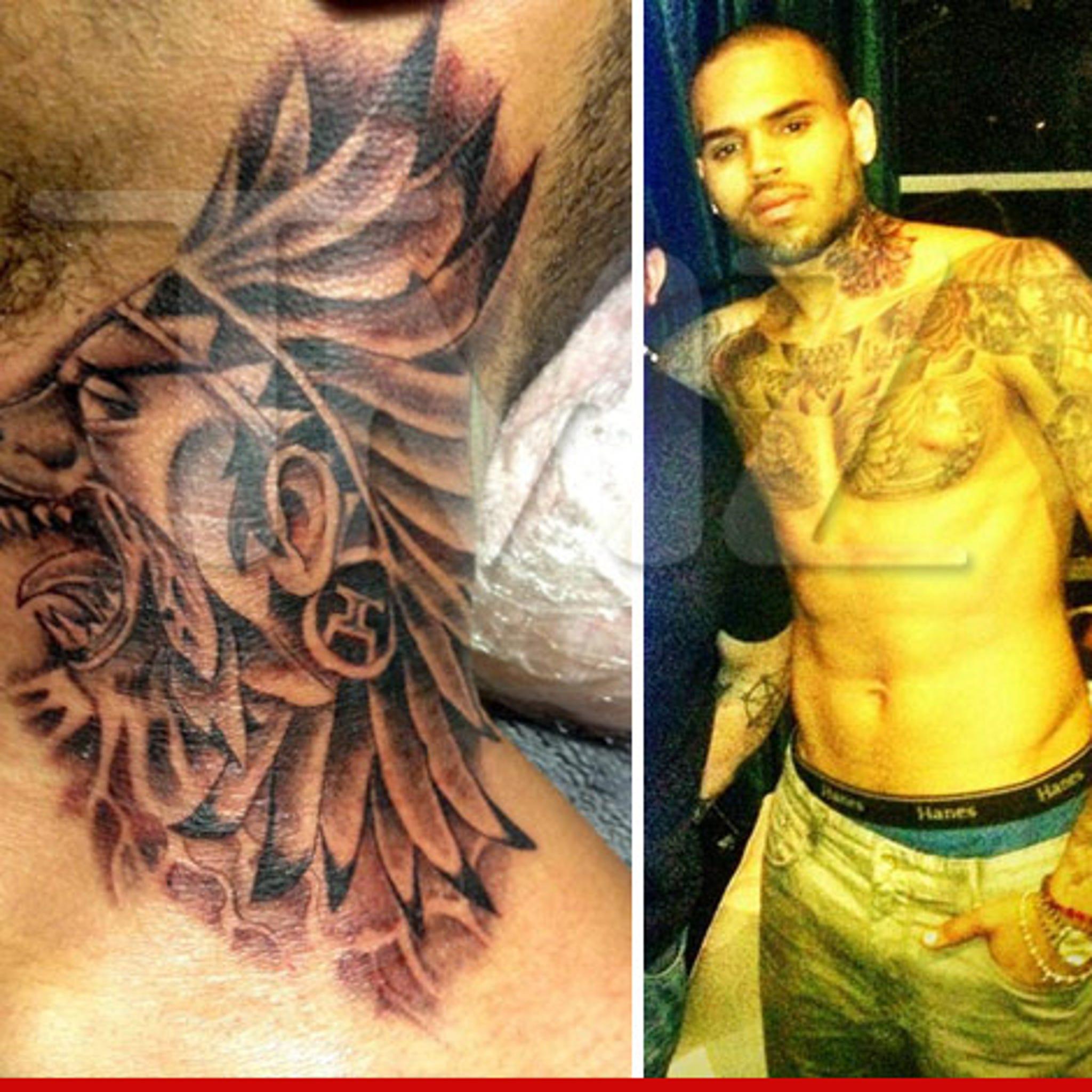 Chris Brown New Neck Tattoo Photos