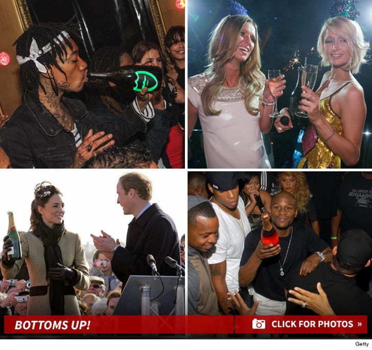Celebs Poppin' Champagne -- Ringin' in the New Year