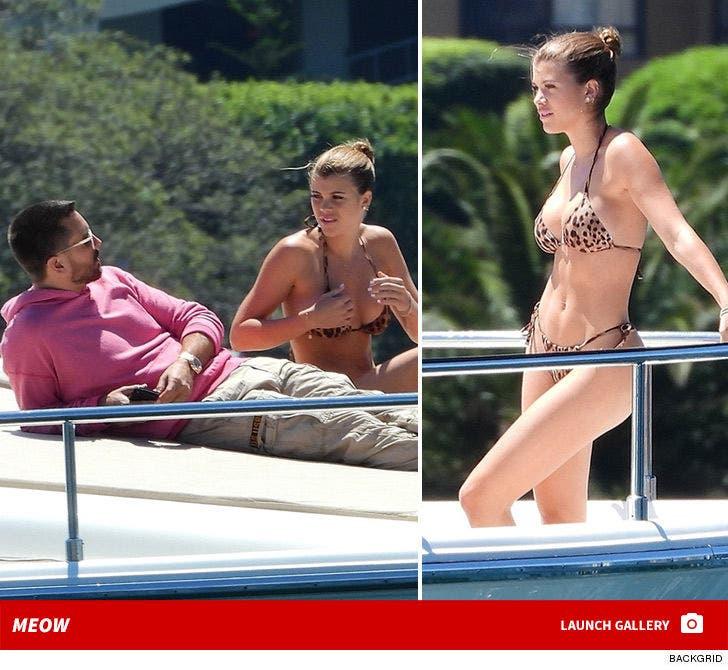 Sofia Richie Rocks Leopard Print Bikini with Scott Disick