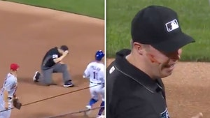 MLB Ump Junior Valentine Bloodied After Being Drilled In Face By Errant Throw