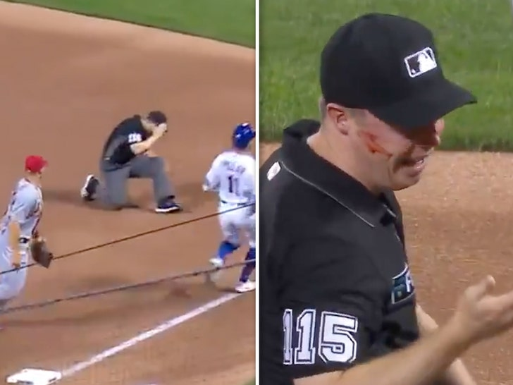 MLB Ump Junior Valentine Bloodied After Being Drilled In Face By Errant Throw.jpg