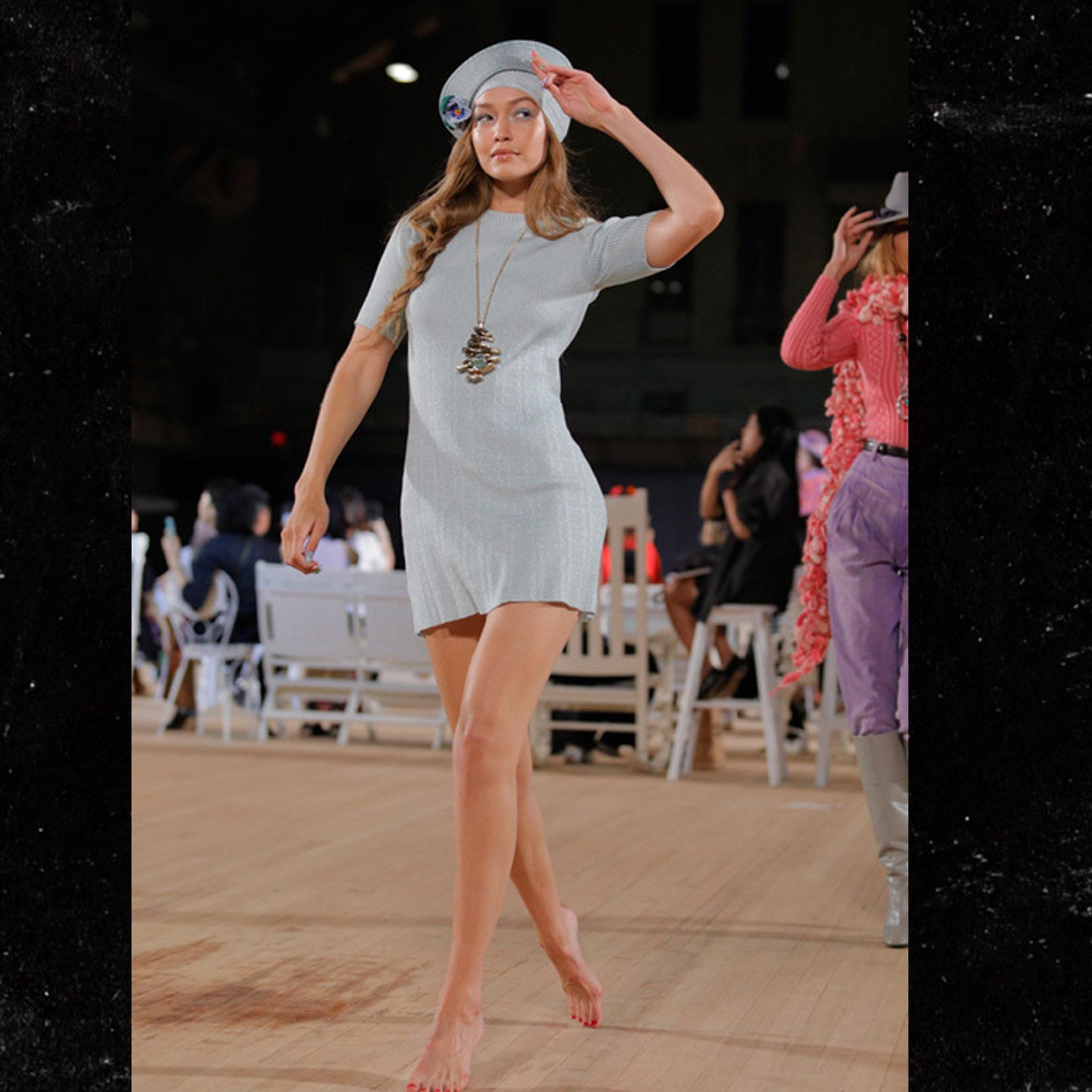 Gigi Hadid Walks Runway Barefoot After Wardrobe Malfunction