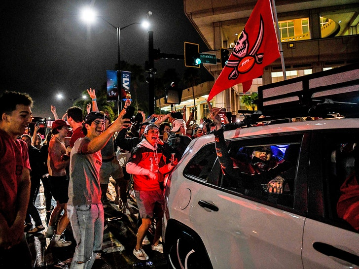 Tampa Bay Buccaneers Fans Celebrate In The Streets