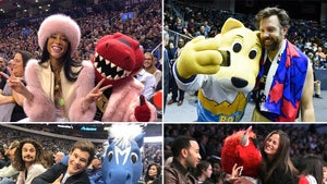 Celebrities With NBA Mascots -- Shoot Your Shot!