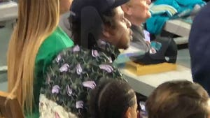 Beyonce, Jay-Z & Blue Ivy Sit Down During Super Bowl National Anthem