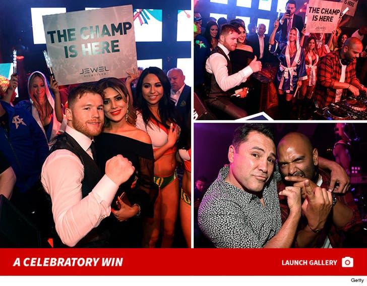 Canelo Alvarez Celebrating Win In Vegas