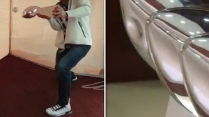 Rob Gronkowski Dented Lombardi Trophy Using it As a Baseball Bat