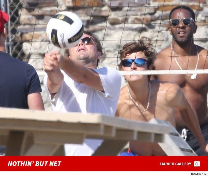 Leonardo DiCaprio and Ansel Elgort Play Beach Volleyball