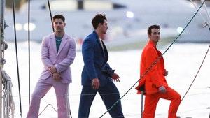 The Jonas Brothers Music Video Shoot Looks Like a 'Miami Vice' Reboot