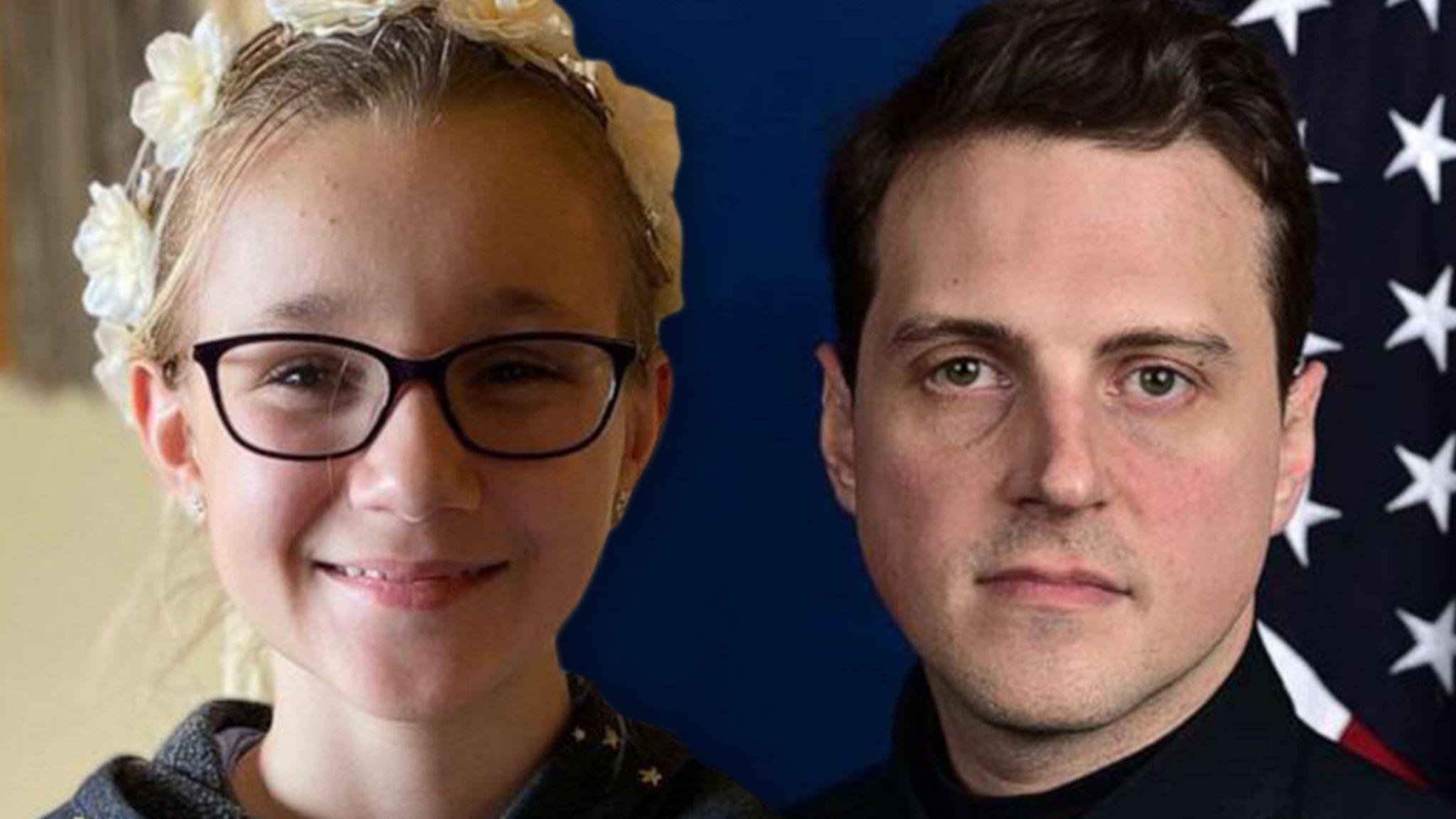 Офицер полиции Капитолия Дэниел Ходжес получает добрые пожелания от 10-летней девочки из Монтаны