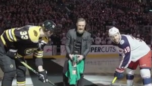 Conor McGregor Drops Ceremonial Puck At Bruins Game after Rousing Pep Talk