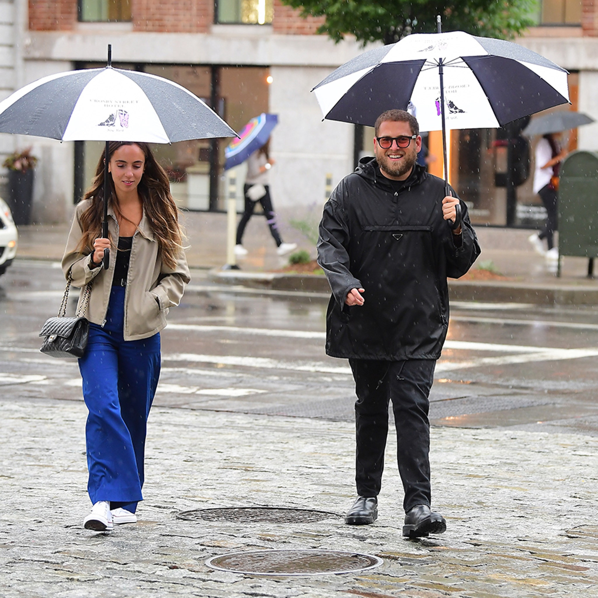 Jonah Hill and New Financee Gianna Santos Go for Rainy Stroll in NYC