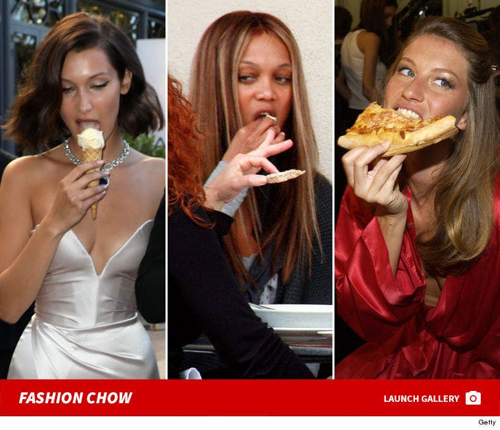 Models Filling Their Faces