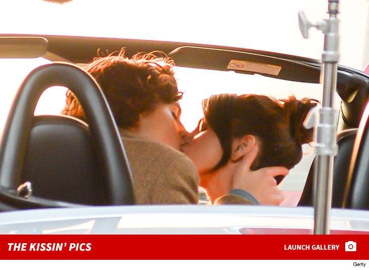 Selena Gomez Kissing Timothee Chalamet on Set