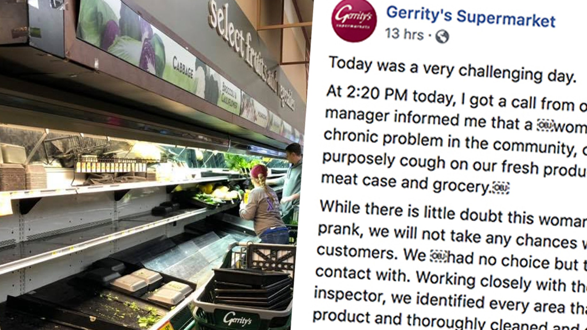 Woman Coughs All Over Supermarket's Fresh Produce in 'Twisted Prank'