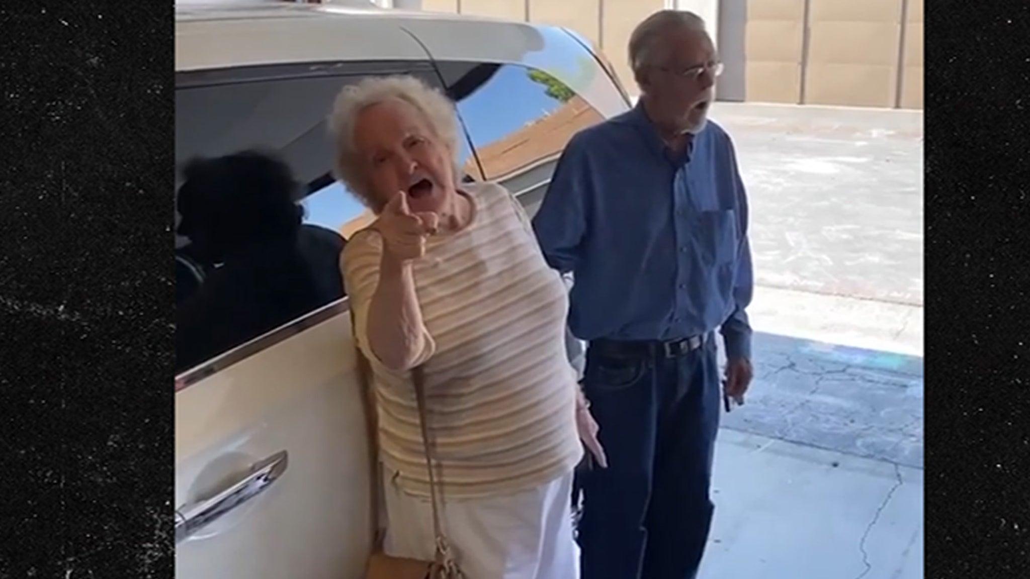 Elderly 'Karen' Freaks Out Over Kids Using Sidewalk Chalk, Drops Racist Comment