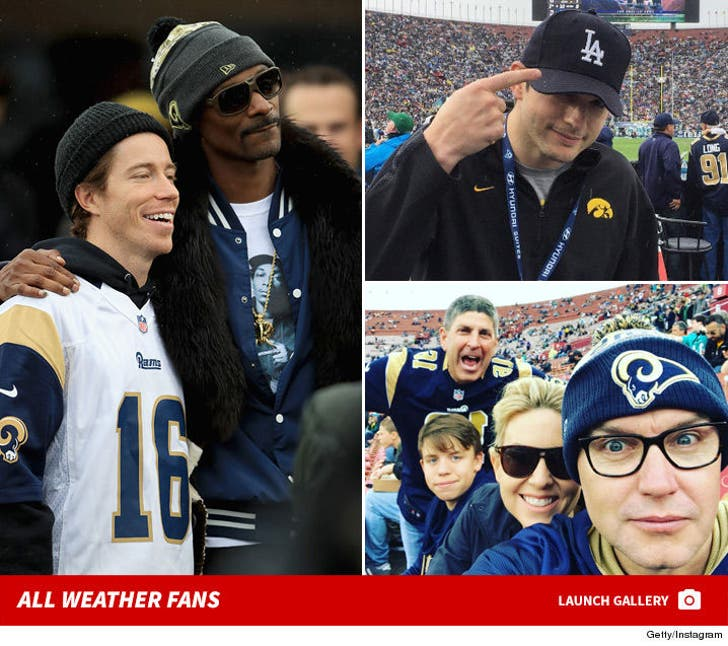 Celebs at the Rams Game - Rain or Shine