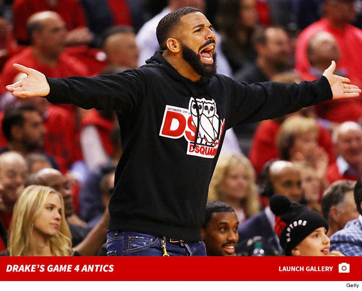 Drake Gets Fired Up At Raptors vs. Bucks Game 4