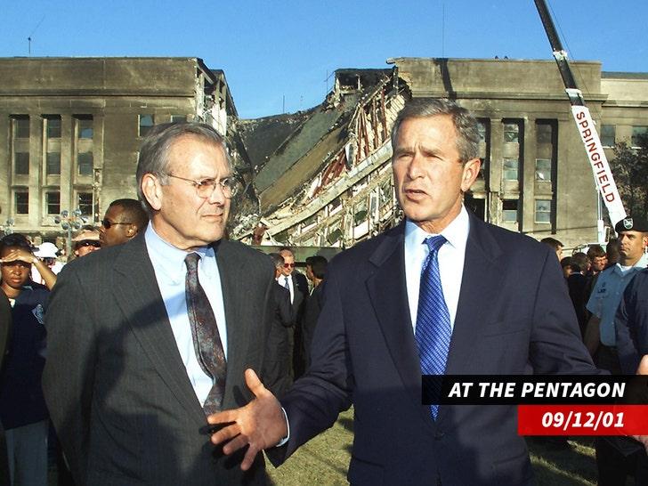 George Bush and Donald Rumsfeld at Pentagon