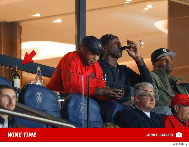 Michael Jordan Crushing Wine at PSG Soccer Game