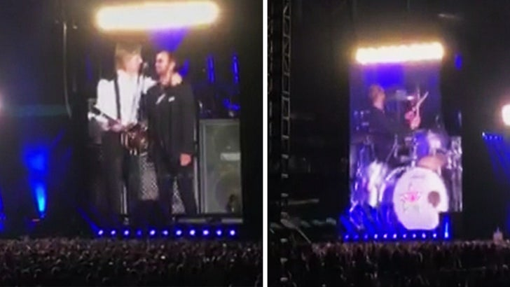 The remaining Beatles reunited as Paul McCartney brings Ringo Starr on stage