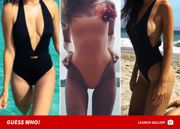 Sexy One-Piece Swimsuits -- Guess Who!