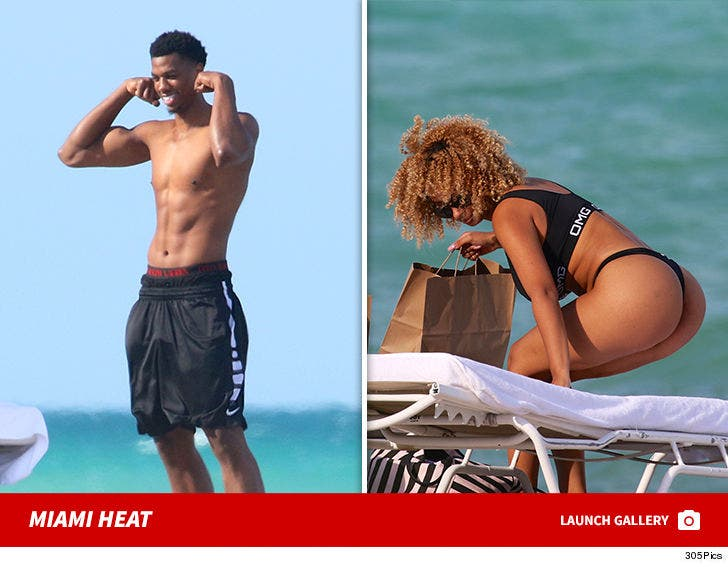 Hasan Whiteside and Hot Chick at the Beach in Miami
