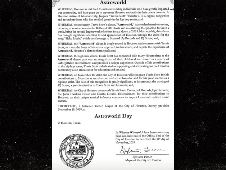 2a5e565c1aa9 Mayor Turner held a ceremony Sunday at City Hall to make the announcement,  and Trav himself took to the podium to reminisce on the real Astroworld, ...