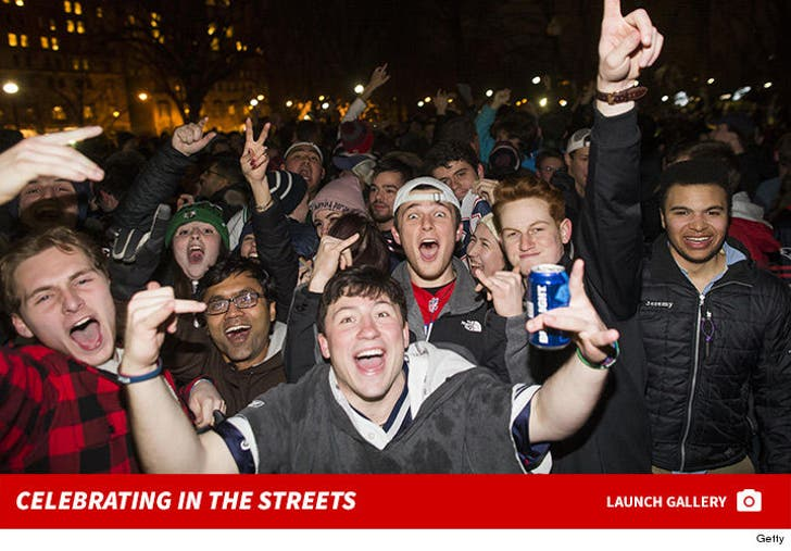 New England Patriots Fans Celebrate in the Streets