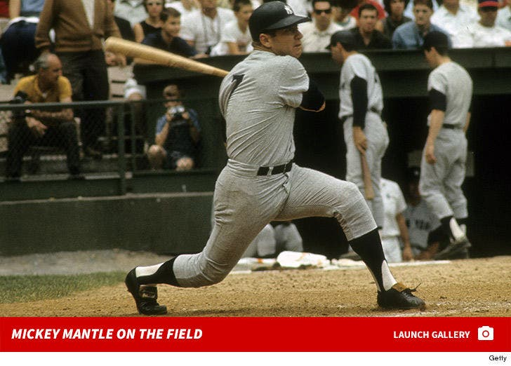 Mickey Mantle on the Field