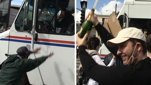 USPS Truck Sprayed with Champagne in L.A. as Biden Supporters Celebrate