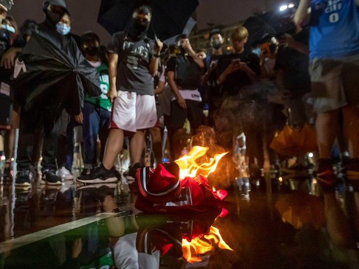 Hong Kong Protesters Burn LeBron James Jerseys