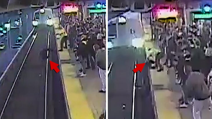 Drunk man rescued from tracks by quick-thinking transit worker