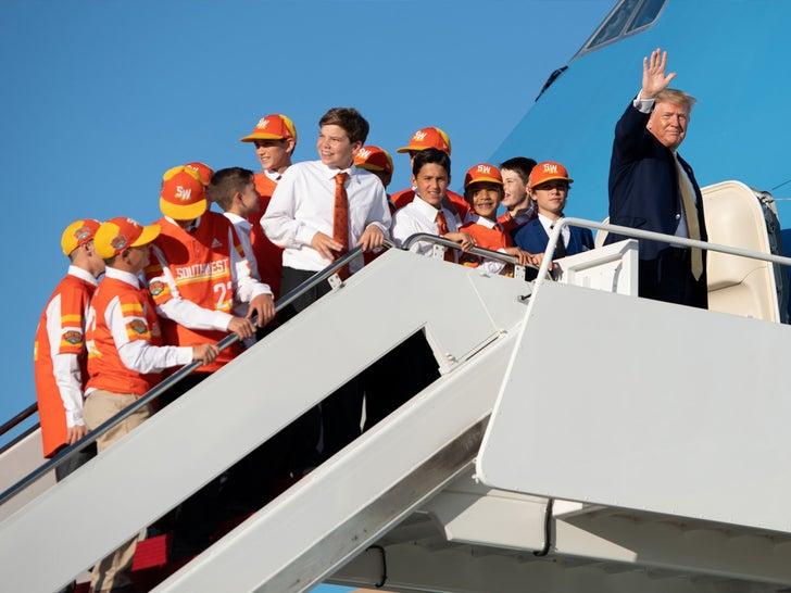 Donald Trump And Little League Baseball Champions Board Air Force One