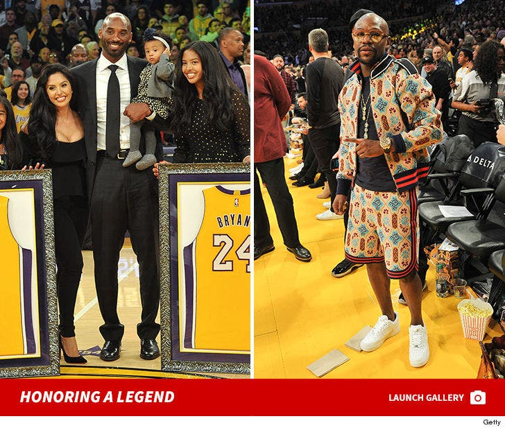 Celebs Present for Kobe Bryant's Jersey Retirement
