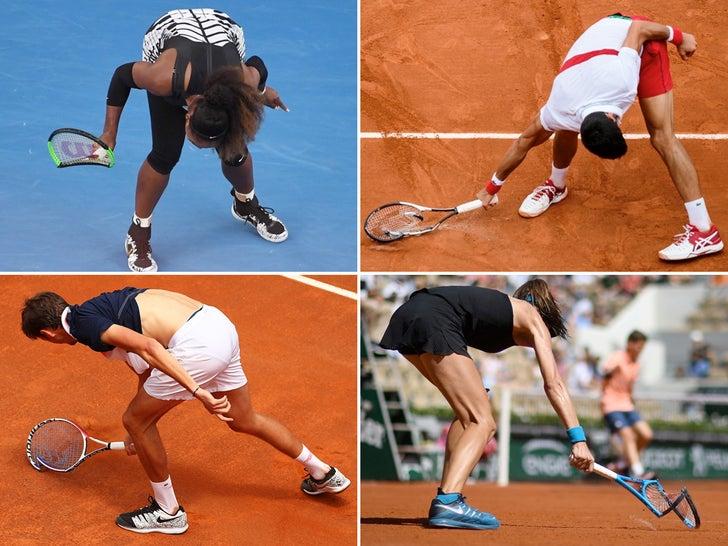 Tennis Players Breaking Their Rackets