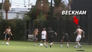 David Beckham Plays Soccer Shirtless in Lieu of Launch Of MLS Team