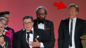 Conan O'Brien Jumps on Stage for Stephen Colbert's Emmy Win
