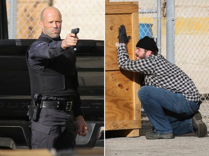 Post Malone, Jason Statham, and Josh Hartnett On Set